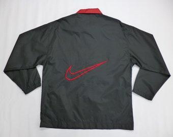 9b958d2bcb NIKE Windbreaker Vintage 90 s Nike Swoosh Logo Half Zipper Jacket Nylon  100% Nike Jacket Activewear Men s Size M
