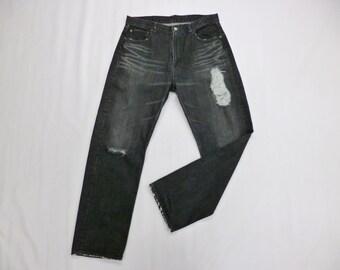 3e131232b Futura Jeans Futura Laboratories Denim Black Zipper Pants Futura  Laboratories Distressed Destroy Design Jeans Made in Japan Men's Size 34''
