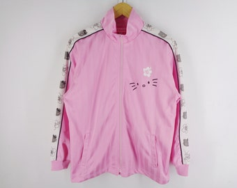 13675a16f Hello Kitty Hoodie Hello Kitty Taped Logo Lovely Pink Jacket Hello Kitty  Zipped Up Jacket Activewear Women's Size M