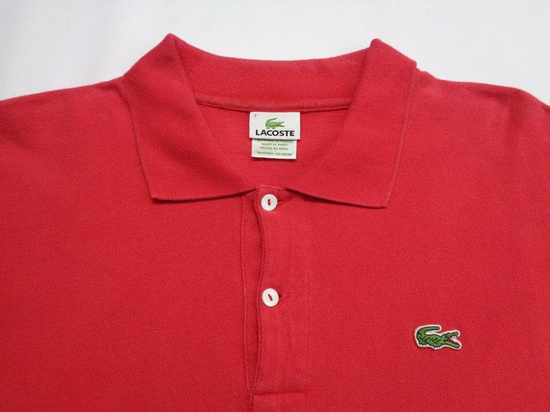 LACOSTE Polo Shirt Vintage 90/'s Lacoste Plain Red Polo Shirt Men/'s Size L