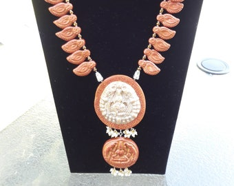 Handmade Polymer clay necklace set with Lakshmi pendant : FREE SHIPPING in US