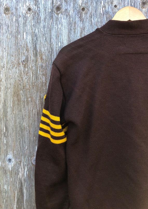 1950s Heavy Wool Varsity Letterman Cardigan Sweat… - image 9