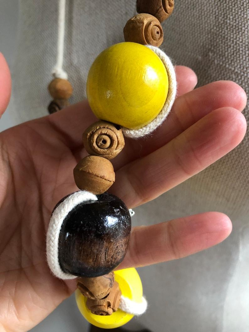 1970s Colorful Wooden Bead Natural Cotton Macram\u00e8 Statement Necklace