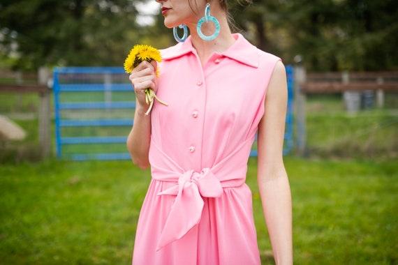 1970s Bubblegum Maxi Dress- size M