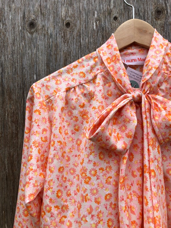 1980s Orange Floral Secretary Blouse- size M