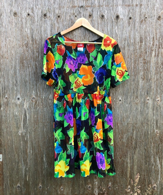 1990s Floral Mesh Baby Doll Dress-size M/L