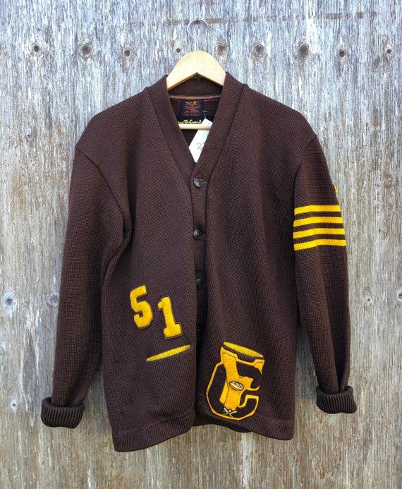 1950s Heavy Wool Varsity Letterman Cardigan Sweat… - image 1