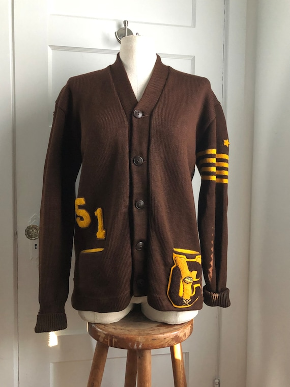1950s Heavy Wool Varsity Letterman Cardigan Sweate