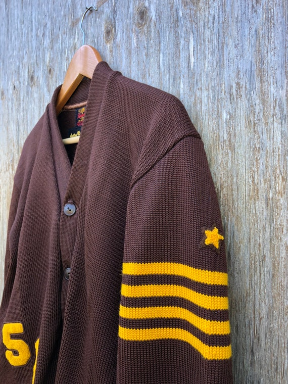 1950s Heavy Wool Varsity Letterman Cardigan Sweat… - image 2