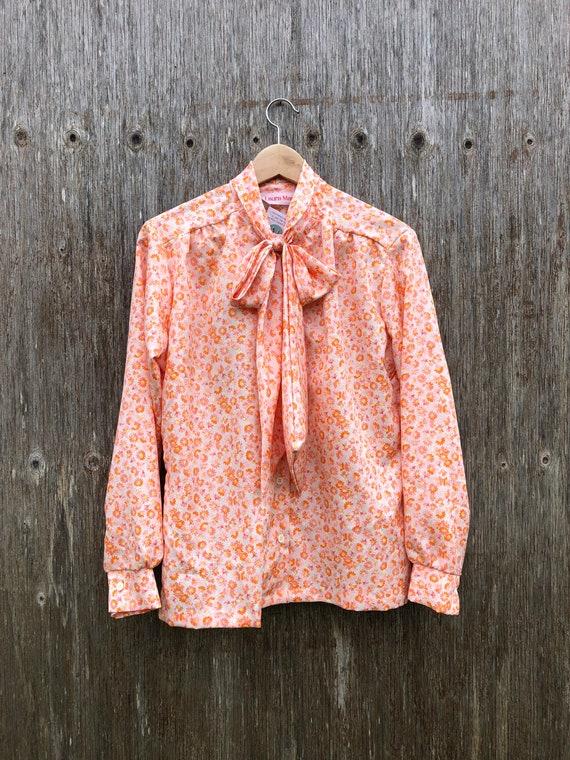 1980s Orange Floral Secretary Blouse- size M