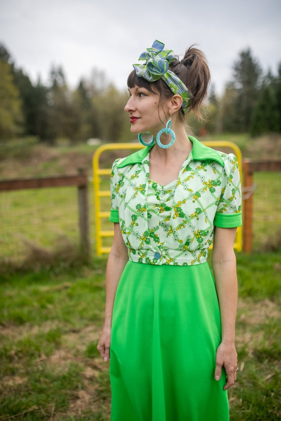 1970s Lime Green & Floral Maxi Dress- size XS