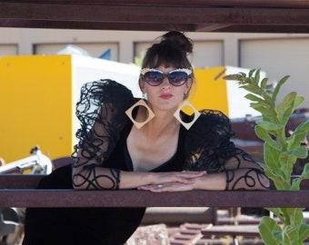 1980s Black Velvet Puff Sleeve Dress by Karen Okada- size small