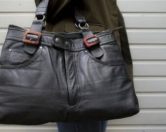 Black city-bag/ Black leather bag/ Handmade leather bag/ Vintage leather bag/ Big leather bag/ Used leather/ Motorbag/ Motor bag/