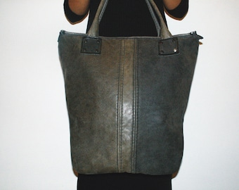 NO.8 Maxi tote bag/ Recycled leather bag/ Leather tote bag/ Handmade leather bag/ Vintage leather bag/ Tote bag green leather/ Handmade