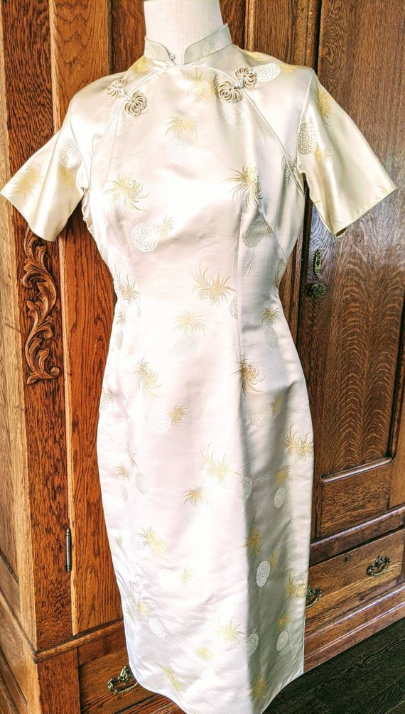 Vintage Gold Cheongsam, Silk Wiggle Dress, Qipao C