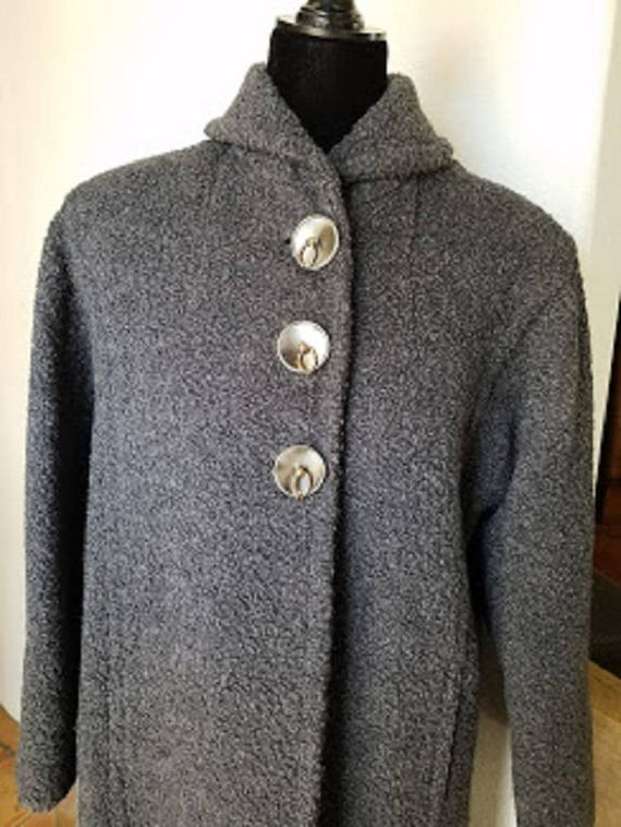 Forstmann Gray Wool Boucle Long Coat Size Medium