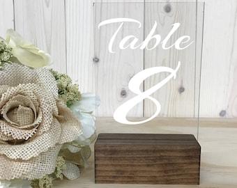 Wedding Table Numbers // Table Numbers // Acrylic Table Numbers // Clear Table Numbers // Wood Table Numbers // Wedding Decor // Acrylic