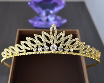 Wedding Tiara, Royal Bridal Crown, Gold Princess Crown, Gold Bridal Tiara, Gold Tiara, Gold Crown.