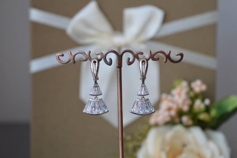 Bridal jewelry Bridal Earrings zirconia jewelry. Cubic zirconia Earrings