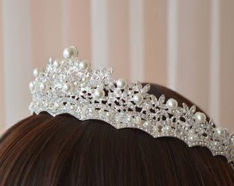 Pearl Tiara, Diamante Tiara, Leaf Pearl Wedding Tiara, Swarovski Crystal, Bridal Tiara,Bridal gold tiara,Silver tiara.