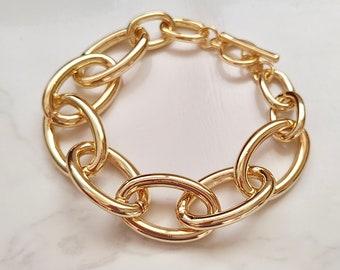 Big Chunky Gold Chain Bracelet, Stack Bracelet, Gold Link Bracelet, Chunk Bracelet, Gold Layering Bracelet, Stacking Bracelet,
