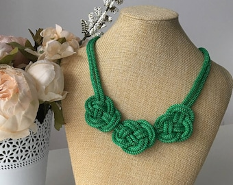 Green nautical necklace- Statement necklace- Rope necklace- Rope knot Necklace- Bib necklace- Rope jewelry- Necklace for her- Gift for her