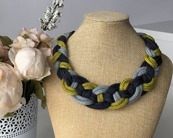 Multicolor rope necklace- Collar necklace- Statement necklace- Rope necklace- Knot Necklace- Bib necklace- OOAK necklace - Gift for her