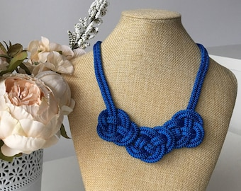 Blue rope necklace- Knot Necklace- Nautical necklace- Sailor knot necklace- Chunky necklace- Statement necklace- Christmas gift idea