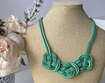 Rope knotted necklace- Rope necklace- Green necklace- Knot Necklace- Bib necklace- Statement necklace- Rope jewelry- Christmas gift for her