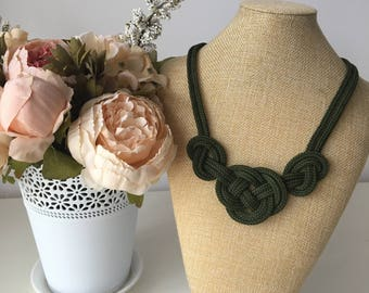 Khaki necklace- Rope necklace- Statement necklace- Nautical necklace- Rope jewelry- Knot necklace- Crochet rope necklace- Christmas gifts