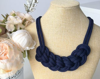 Blue statement rope necklace- Rope jewelry- Knotted Necklace- Bib necklace- Nautical necklace- Statement necklace- Christmas gift for her