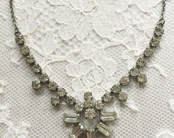 Stunning paste necklace with an Art Deco design, evening diamonte paste necklace