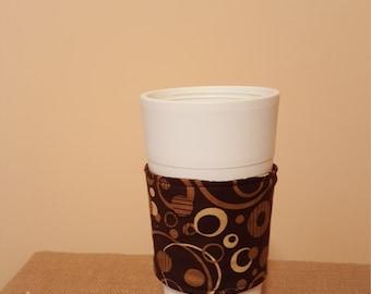 Fabric coffee cozy/cup holder/coffee cup sleeve-                                   Chocolate and cream