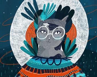 Cat Lady   Full Moon - 8x10 & 16x20 Art Print