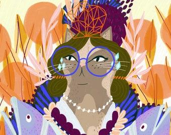Cat Lady   Fran with the Fish - 8x10 & 16x20 Art Print
