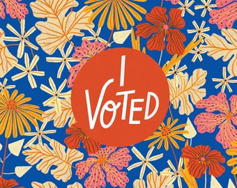 I Voted - Floral 11x17 Poster