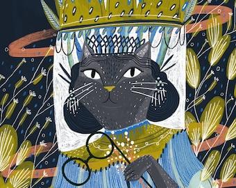 Cat Lady   Space Beam - 8x10 & 16x20 Art Print