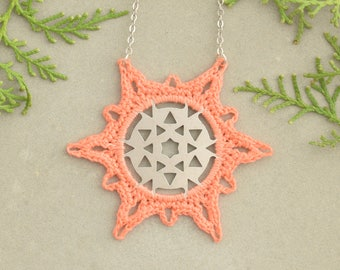 Star Necklace, Boho Jewelry, Coral-Silver Necklace, Oxidized Silver, Long Necklace, Snowflake Necklace, Crochet Salmon, Geometric Pendant