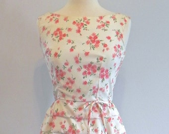 Vintage 1950s Cha Cha Dress / Seriously Cute 50s Layered Wiggle Dress with pink flowers SM - on sale