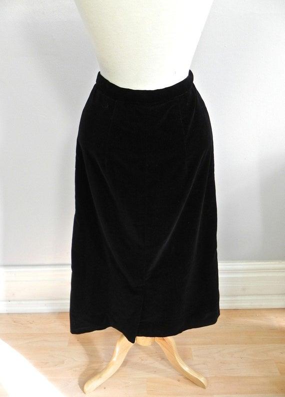 Vintage 1950s Black Velvet Maternity Pencil Skirt