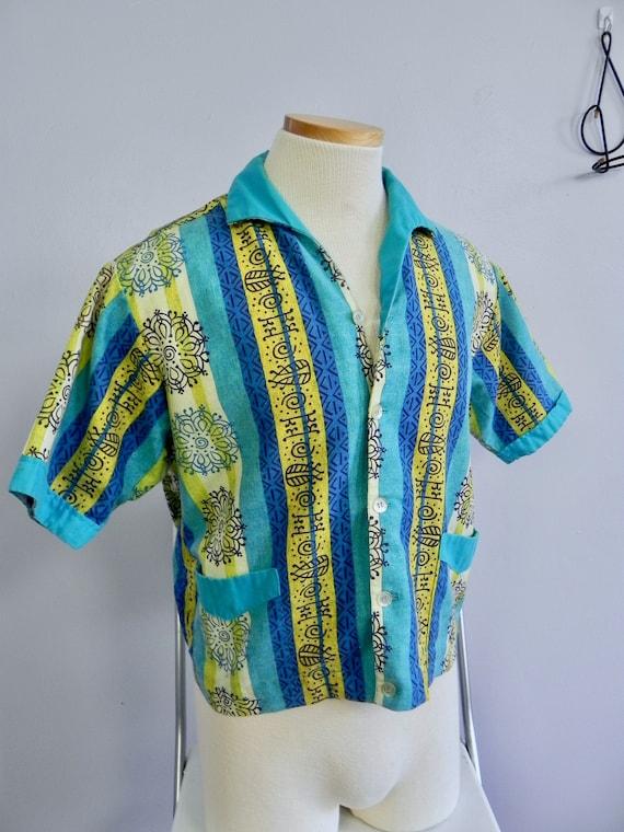 Vintage 1950s Wild Print Men's Shirt / Cool 50s No