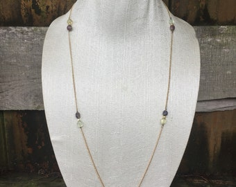 Long Beaded Gold Chain Necklace