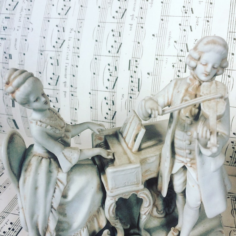 Bisque porcelain  Musicians  Violin  Harpsichord  Dog  1900 s  french  antique  Music scene