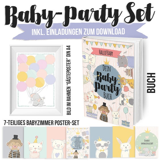 Baby Party Gift Set With Book And Postersets Etsy