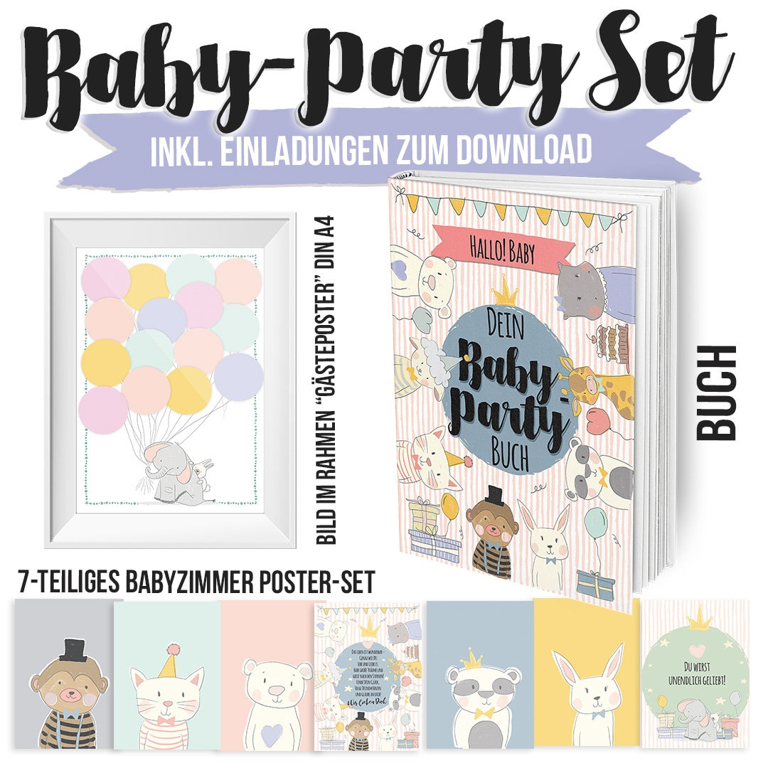 Baby Party Gift set with book and Postersets | Etsy