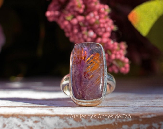 Cacoxenite ring size 53 or 6.5 US, superseven, super 7 Collection LUXE