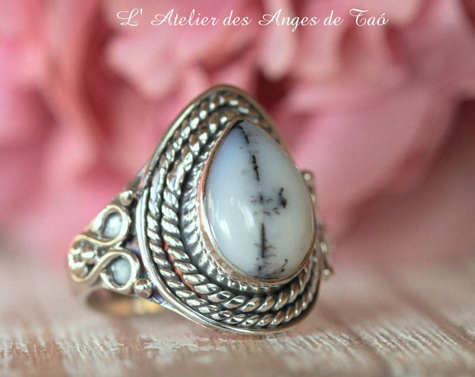 Dendritic agate ring size 8 US 57, luxury collection