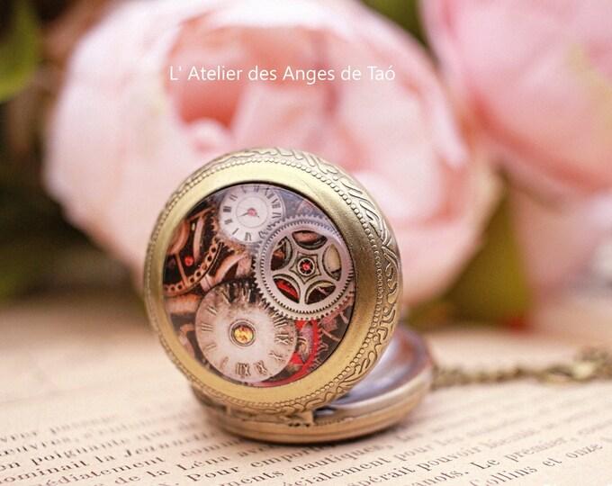 Pocket Watch, antique bronze Steampunk watch jewelry