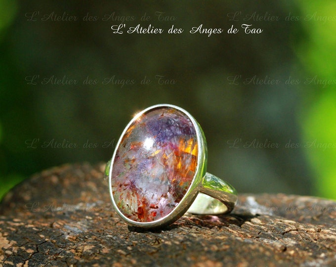 Bague cacoxenite taille 57 ou 8 US superseven ring melody stone