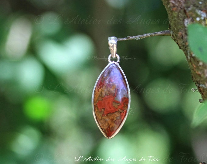 Rare Agate Cady Mountains silver pendant